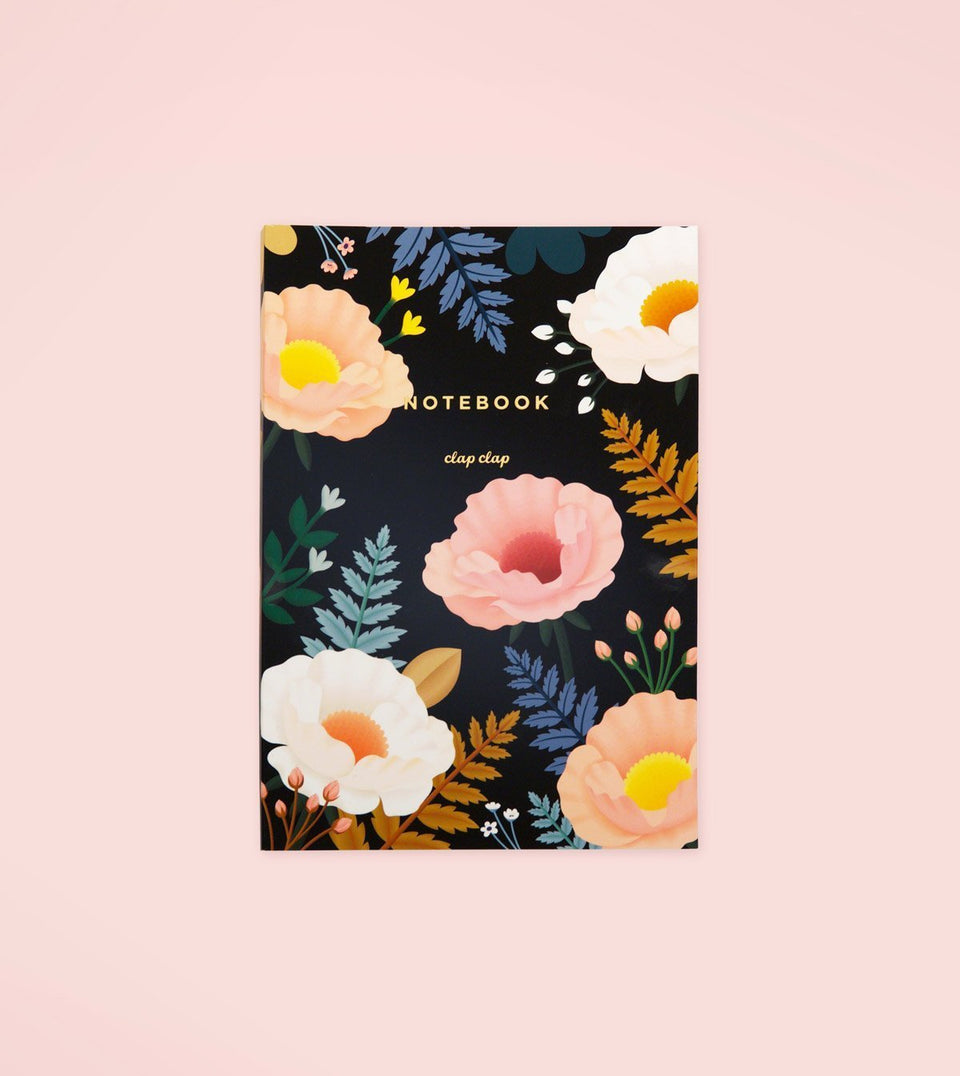 ORIENTAL POPPY NOTEBOOK – BLACK - N15 - Clap Clap
