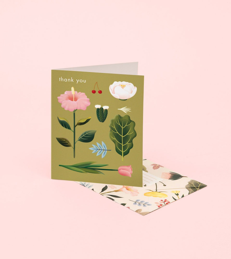 PASTEL BLOSSOMS THANK YOU CARD – OLIVE - GT15 - Clap Clap