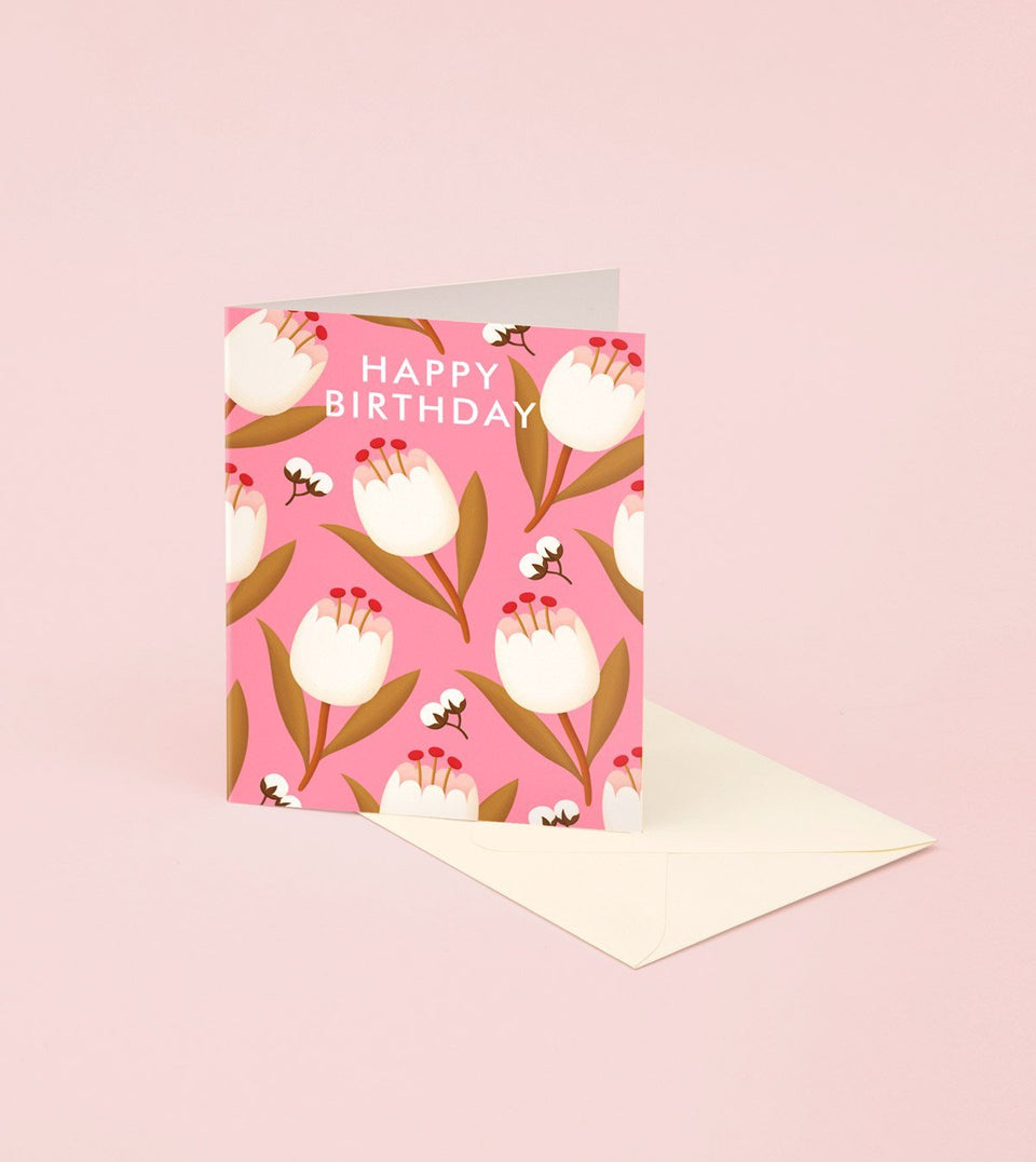 PINK TULIP BIRTHDAY CARD - GB17 - Clap Clap