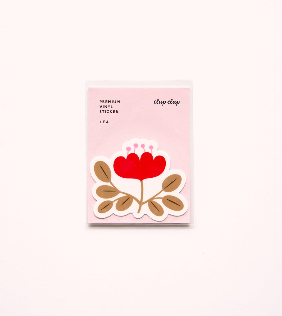 WATERPROOF FLOWER AESTHETIC STICKER - RED POPPY - STK03 - Clap Clap