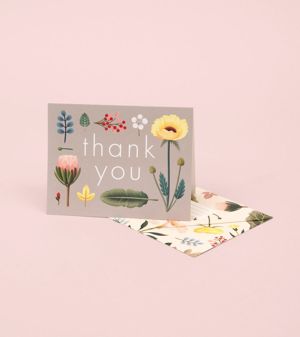 SPRING BLOOM THANK YOU CARD – GREY - GT13 - Clap Clap