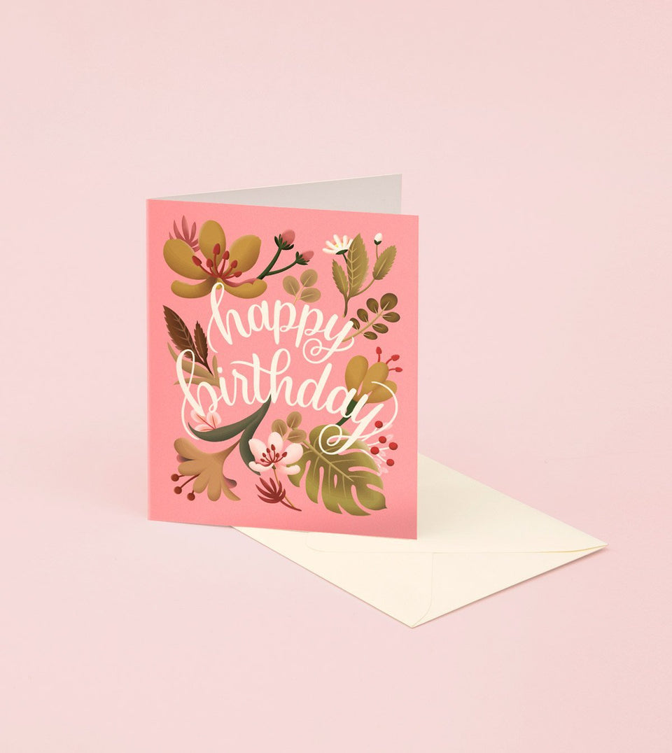 TROPICAL PLANTS BIRTHDAY CARD - CORAL - GB21 - Clap Clap