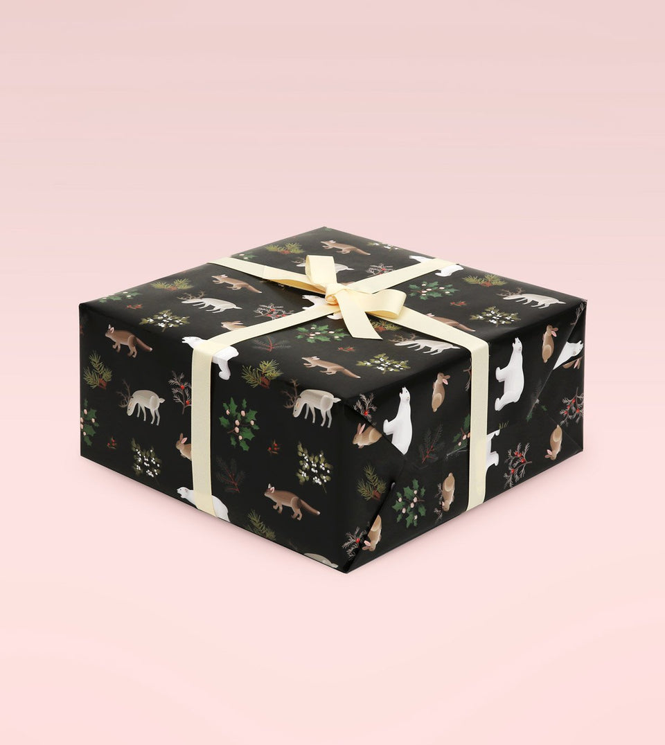 WILD ANIMALS WRAPPING PAPER - BLACK - WR08 - Clap Clap