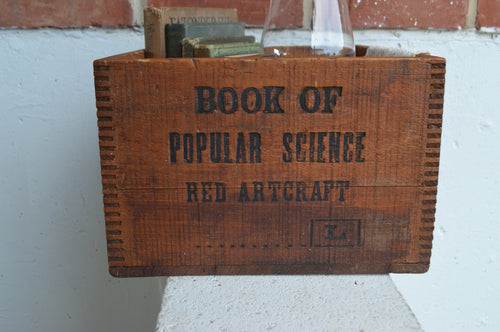Vintage Book of Popular Science Red Artcraft Dovetailed Wood Crate Box