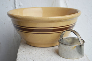 Stoneware Brown Band Mixing Crock Bowl/Farmhouse/Country Home