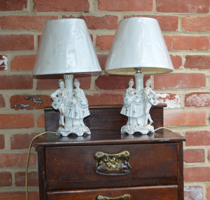 Vintage Victorian Porcelain Electric Dresser Lamps. Made in Japan.