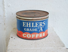 "Vintage, Rustic EHLERS Grade ""A"" Coffee Tin/Late 1938 to 1946"