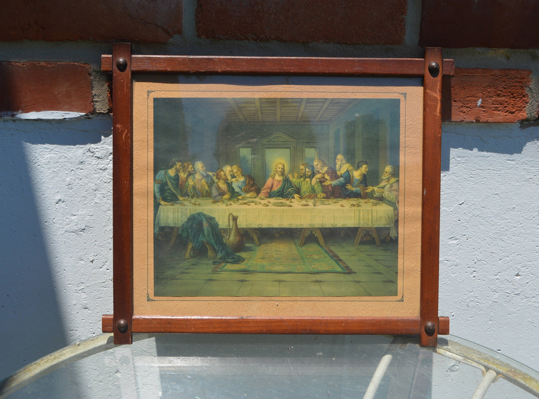 Vintage Cross Bar Frame and Print of The Last Supper/Brunozetti ...