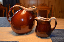 Brown Hull Milk, Water Pitchers, Set of 2