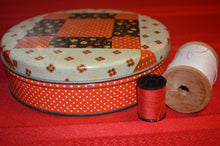 Vintage Sewing Canister with Patchwork, Quilt Design