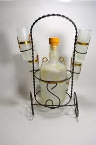 Mid-Century Frosted Glass Liquor, Wine Decanter Barware