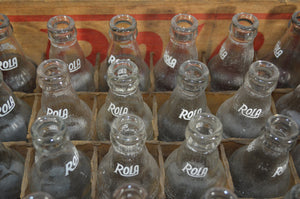 ROLA Wood Crate with 24 Soda Bottles, 1945
