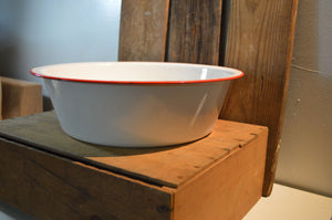 Large White with Red Trim Enamelware Basin
