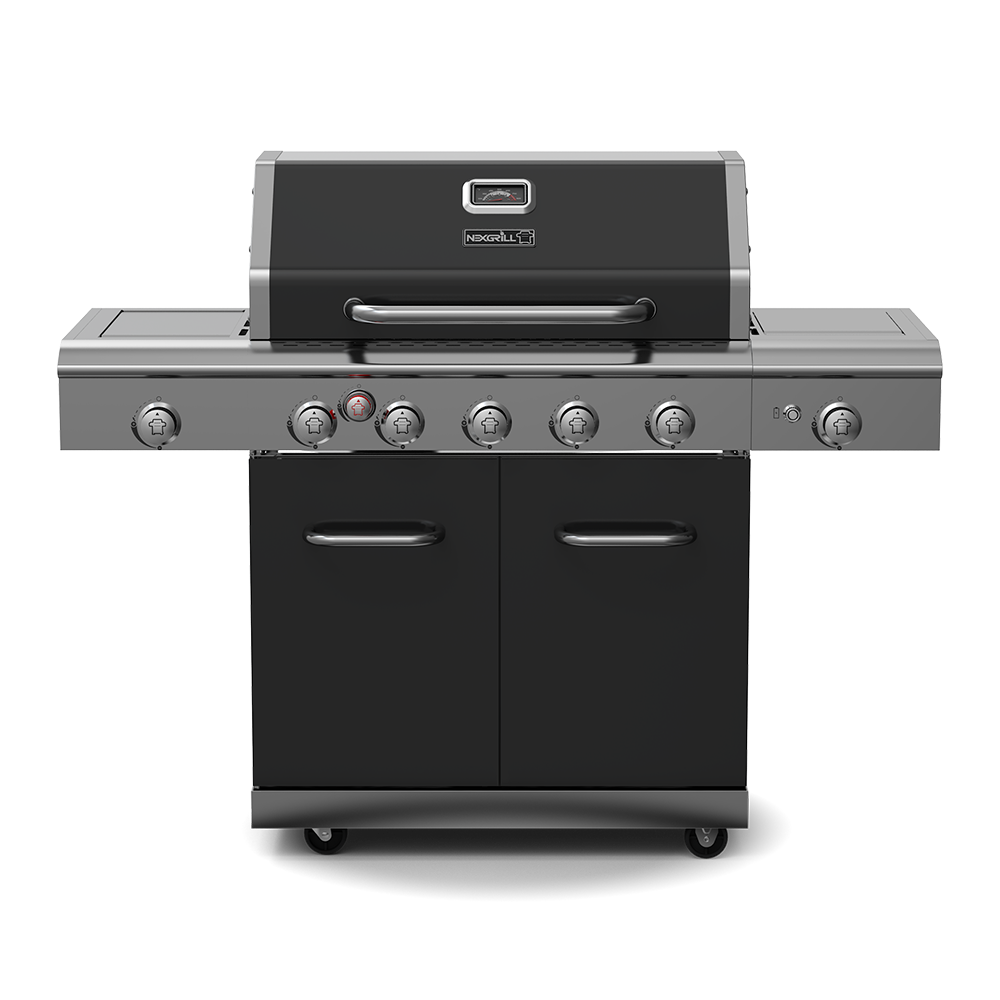 Deluxe 5-Burner Propane Gas Grill with Ceramic Rear Burner, Stainless Steel & Ceramic Side Burners