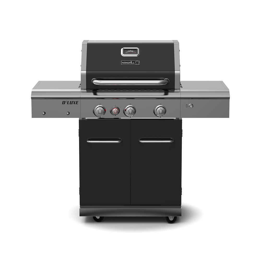 Deluxe 3-Burner Propane Gas Grill with Ceramic Rear Burner & Stainless Steel Side Burner