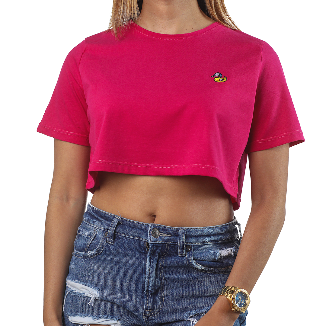 Hule Crop-Top T-Shirt (fucsia)