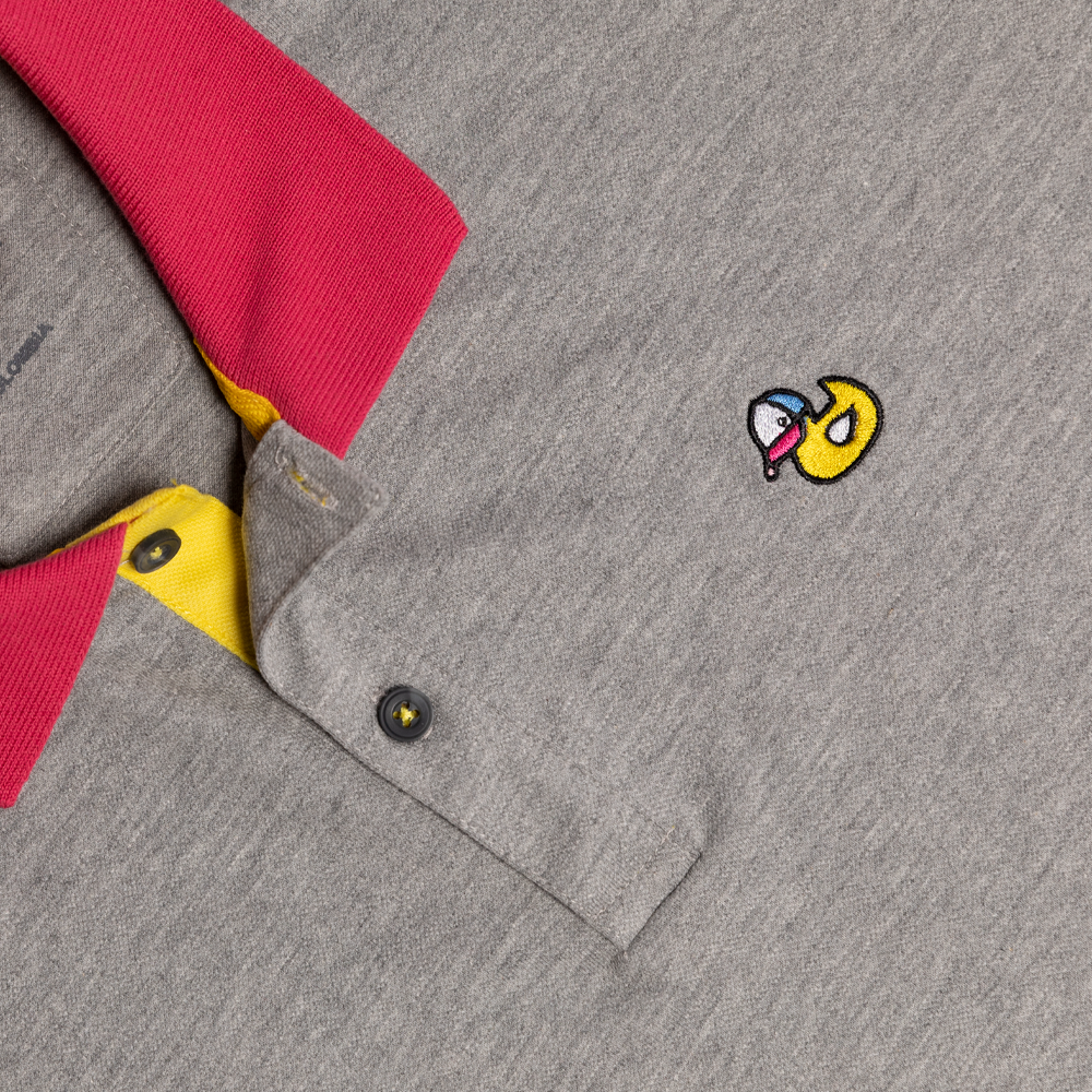 Grey and Fucsia Polo Shirt - Hule Caps