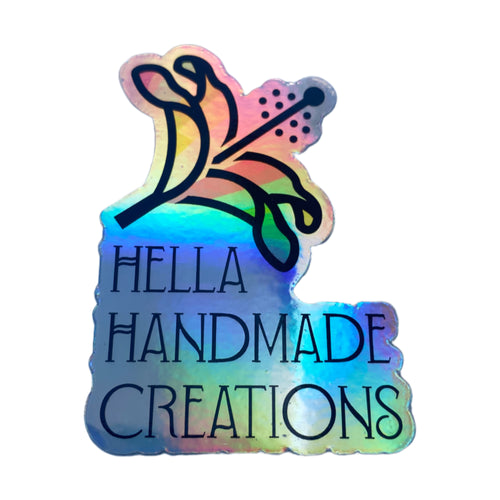 Hella Handmade Creations Rainbow Hibiscus Holo Decal