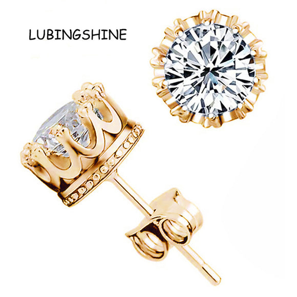 Hot Sale Gold Color Earrings Stud Women Men Jewelry Crown Zircon Crystal Inlayed Double Stud Earrings FEAL  E125 - Fun Buy Shop