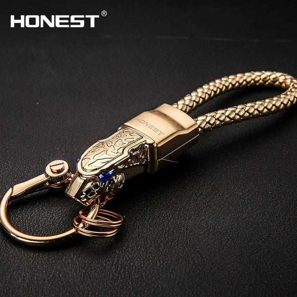 Brand HONEST High Grade Men Key Chain Keychains Rhinestones Car Key Ring Holder Jewelry Bag Pendant Gift Genuine Leather Rope - Fun Buy Shop