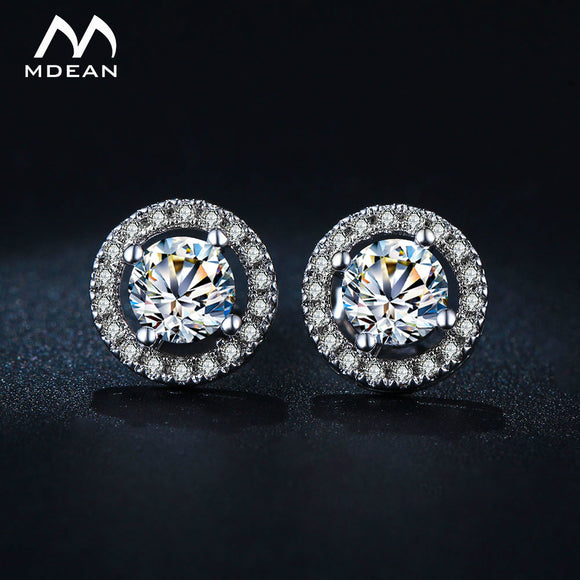 MDEAN Stud Earrings for Women White Gold Color   Jewelry AAA Zircon Round Boucle D'oreille Wedding Brincos MSE032 - Fun Buy Shop