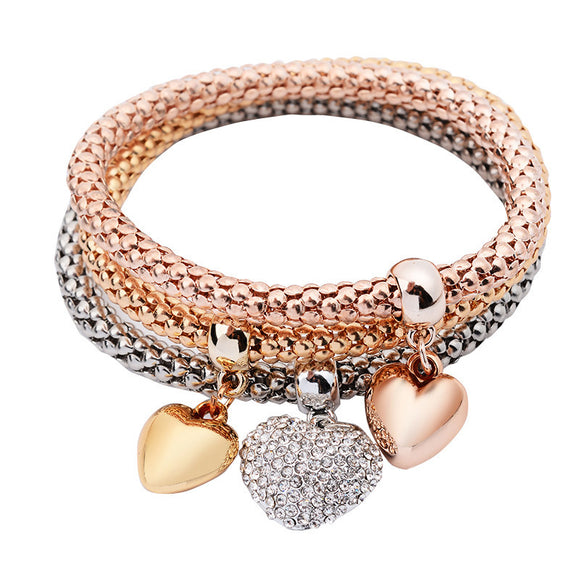 3Pcs Women Charm Pulseiras Heart Pendant Bracelet Fashion Multilayer Bracelet - Fun Buy Shop