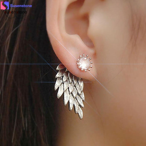 SUSENSTONE Women's Cool Jewelry Angel Wings Rhinestone Alloy Earrings - Fun Buy Shop