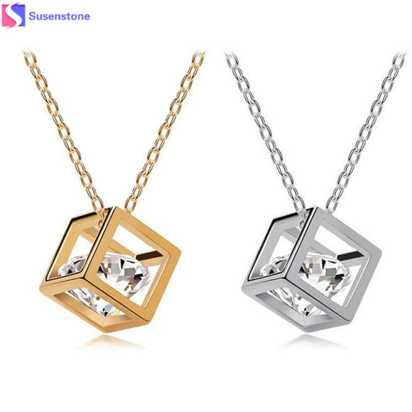 SUSENSTONE Women Chain Crystal Rhinestone Square Pendant Alloy Necklace Jewelry - Fun Buy Shop
