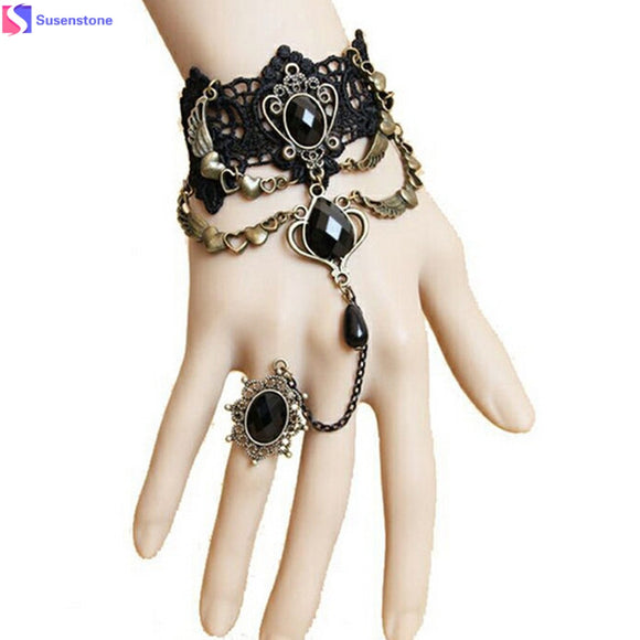 Fashion lace bracelet Charming Black Lace Bracelet With One Chain Trendy Party Jewelry - Fun Buy Shop