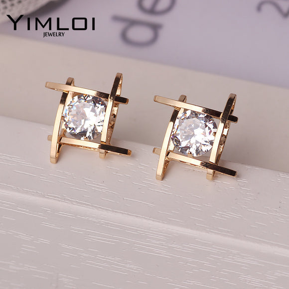 Elegant and Charming Black Rhinestone Full Crystals Square Stud Earrings for Women Girls Statement Piercing Jewelry E297 - Fun Buy Shop
