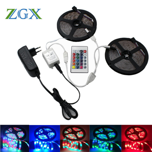 SMD 2835 RGB LED Strip light tira lamp neon 300LED Decor Flexible Tape waterproof diode ribbon 24K Controller DC 12V adapter set - Fun Buy Shop