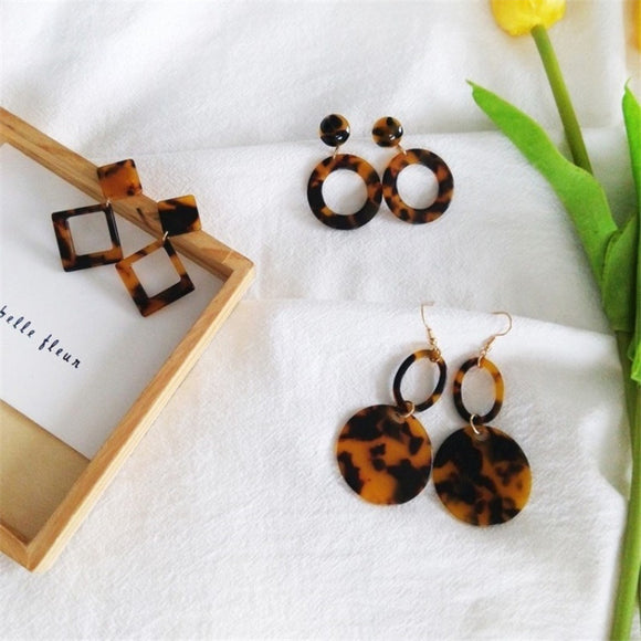 2018 Brown Acetate Version Geometric Earrings Temperament Personality Exaggerated Earrings Korean Simple Fashion Women - Fun Buy Shop
