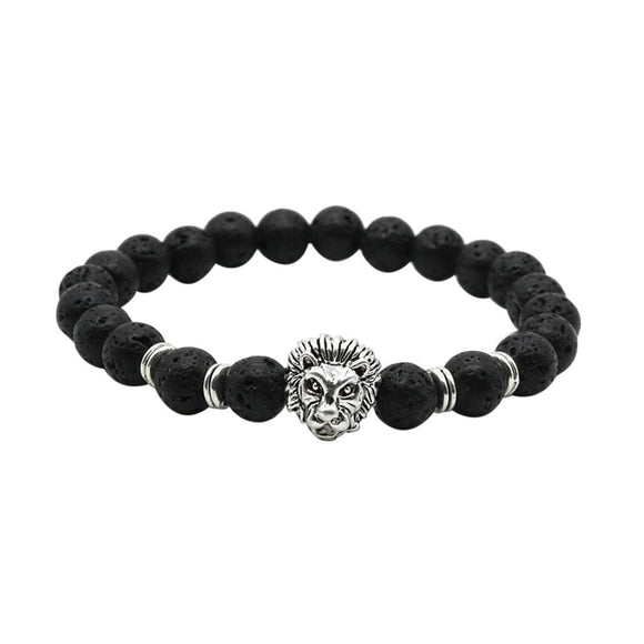 Wholesale Buddha Leo Lion Bracelet Black Lava Stone Bead Bracelets For Men Women - Fun Buy Shop