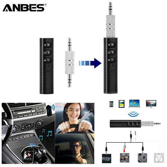 ANBES Mini Bluetooth Receiver Bluetooth Audio Transmitter 3.5mm Jack Handsfree Bluetooth Car Kit Music Adapter Bluetooth Car AUX - Fun Buy Shop