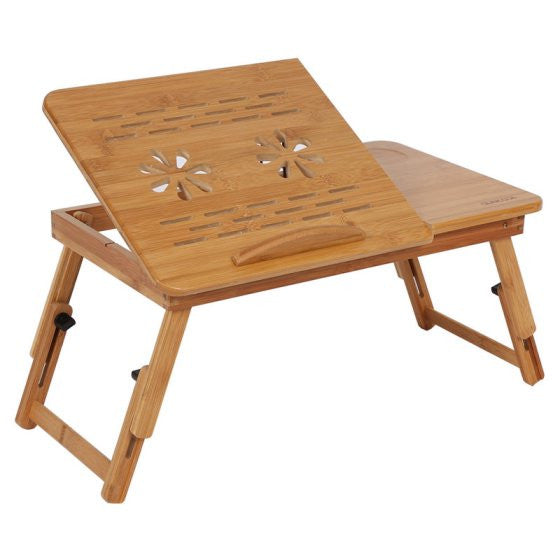 Bamboo Laptop Desk Adjustable Breakfast Serving Bed Tray with Tilting Top Drawer - Fun Buy Shop