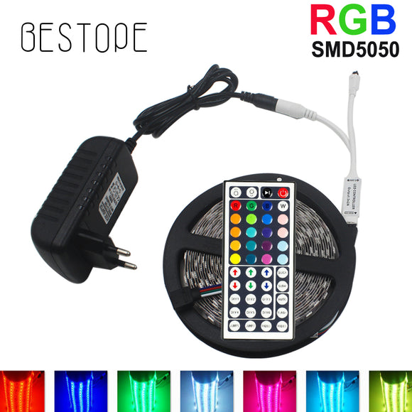 10M  RGB LED Strip 5M 5050 SMD LED Light Tape Flexible Ribbon Waterproof IR Remote Controller DC 12V Power Adapter Full set - Fun Buy Shop