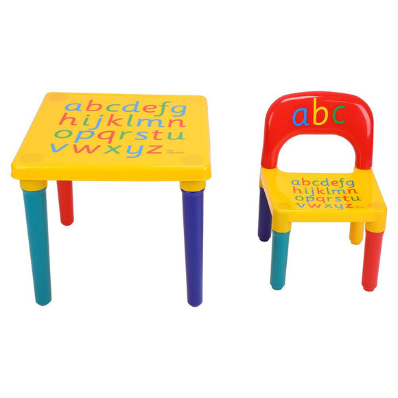 2 piece Plastic Play Toddler DIY Table & Chairs Kids Set  Activity Fun Child Toy - Fun Buy Shop