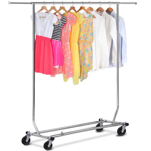 Commercial Chrome Single Rail Clothing Garment Rolling Collapsible Rack Hanger - Fun Buy Shop
