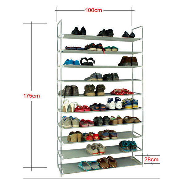 Portable 50 Pair 10 Tire Shoe Rack Shelf Home Storage Organizer Closet Cabinet - Fun Buy Shop