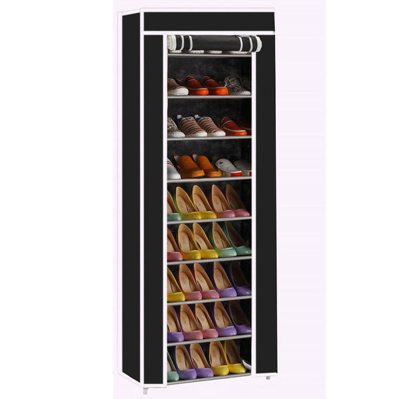 Portable 10 Tier Shoe Rack Shelf Storage Closet Organizer Cabinet w/Cover Black - Fun Buy Shop