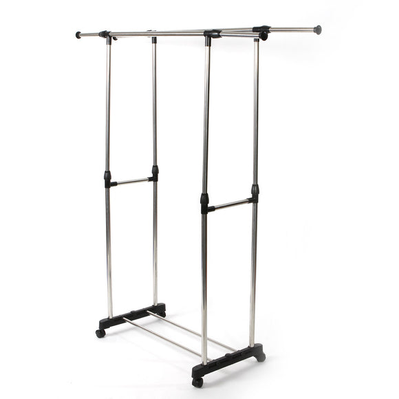 Heavy Duty Double Adjustable Portable Clothes Dry Hanger Rolling Rack Rail - Fun Buy Shop
