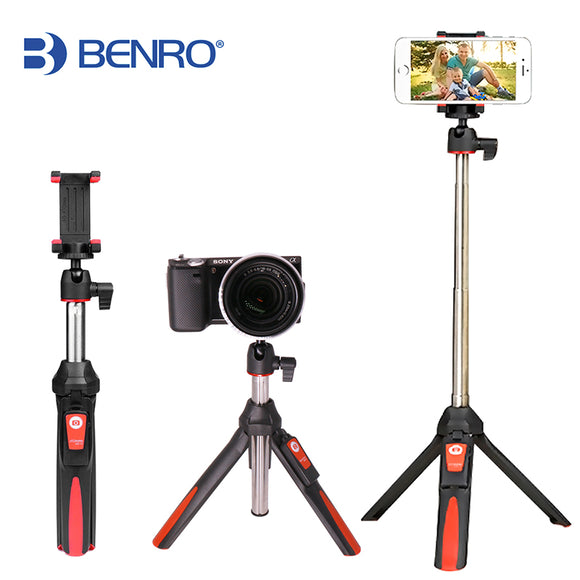 BENRO 33inch Handheld Tripod Selfie Stick 3 in 1 Bluetooth Extendable Monopod Selfie Stick Tripod for iPhone 8 Samsung Gopro 4 5 - Fun Buy Shop