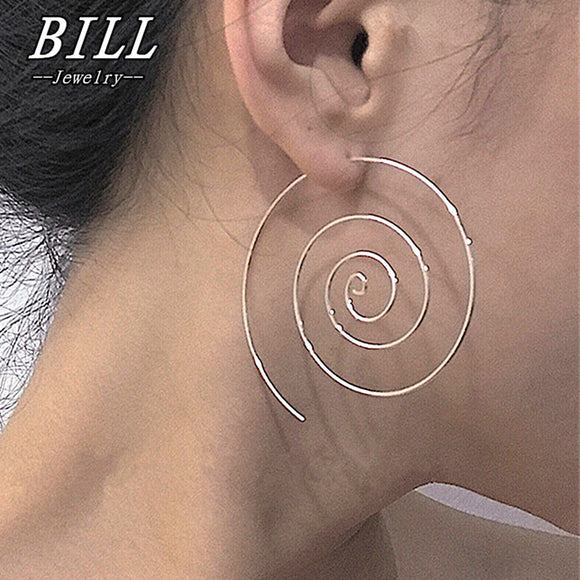 ES238 Spiral Stud Earrings Round aretes Simple Style Fashion Jewelry Plugs Earrings Women Piercing Brincos Bijoux HOT Sale 2018 - Fun Buy Shop