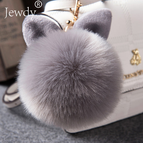 2018 Fur Pom Pom Keychains Fake Rabbit fur ball key chain porte clef pompom de fourrure fluffy Bag Charms bunny keychain Keyring - Fun Buy Shop