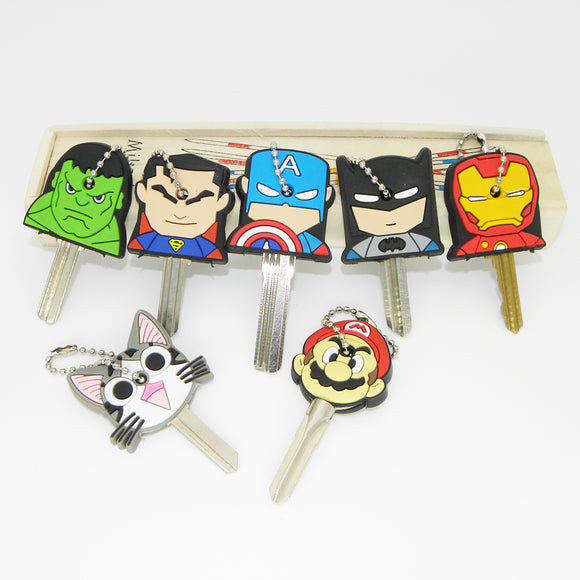 Super Hero Anime Key Cap Batman Hulk Keychain Women Bag Charm Key Holder Iron Man Key Chain Silicone Key Ring Superman Key Cover - Fun Buy Shop