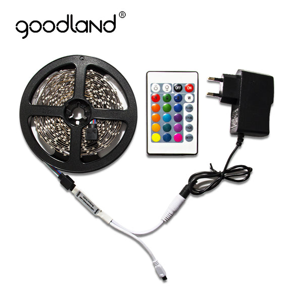Goodland RGB LED Strip Light 2835 SMD 5M 60Leds/m Include Battery IR Remote Controller 12V 2A Power Adapter LED Tape - Fun Buy Shop