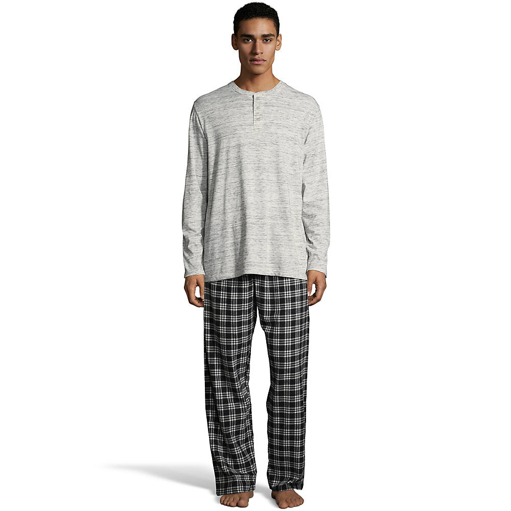 Hanes Men's Henley Crew with Flannel Pant PJ Set - Lil&Laya
