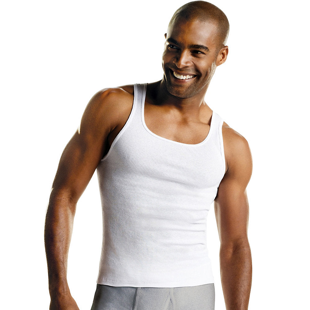 Hanes Men's TAGLESS ComfortSoft White A-Shirt 6-Pack - Lil&Laya