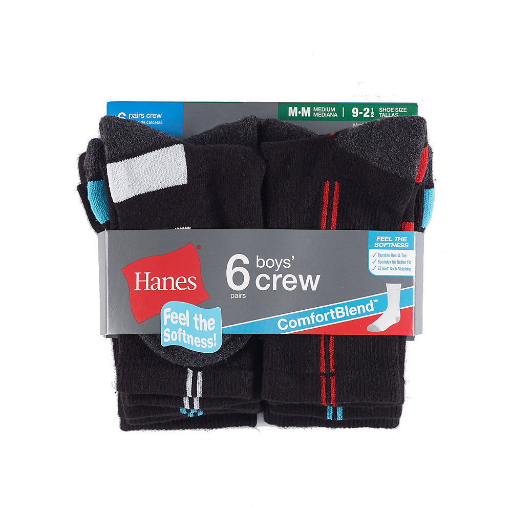 Hanes Boys' Crew ComfortBlend® Assorted Socks 6-Pack - Lil&Laya