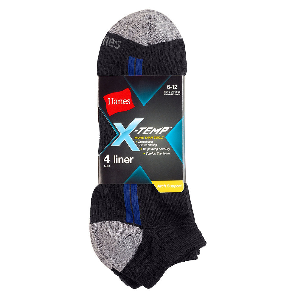Hanes Men's X-Temp® Arch Support Liner Socks 4-Pack